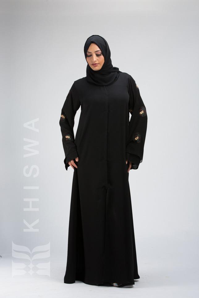 Beaded And Layered Sleeves Abaya Khiswa L Abaya Dresses Hijab